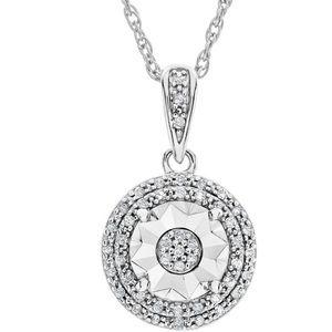 Jewelry - 1/10CT Double Halo Diamond Pendant Necklace Silver